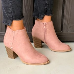Distressed Blush Chic Chunky Heel Booties